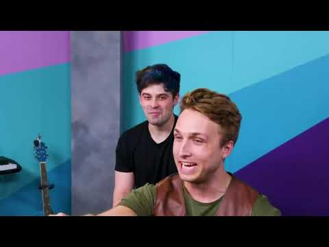 Shayne and Damien making each other laugh on Smosh Try Not To Laugh for 14 minutes