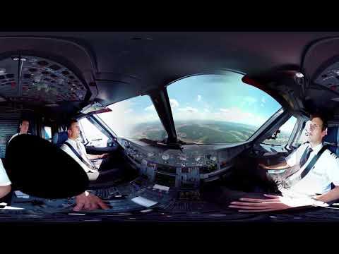 360° cockpit view | SWISS Airbus A320 | Geneva – Zurich
