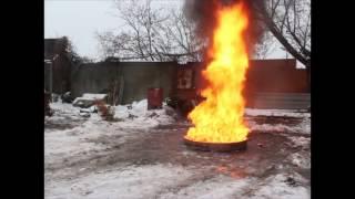 тушение очага 55В серийным огнетушителем ОП-2 торговой марки Vognebor
