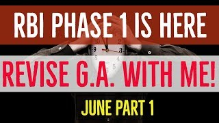 JUNE CURRENT AFFAIRS REVISION FOR PHASE 1 | Part 1 | RBI GRADE B 2018