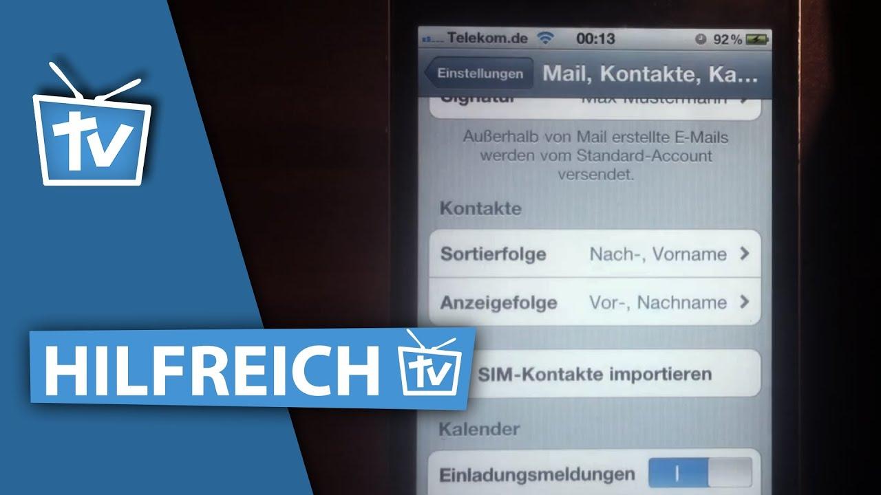 How To Kontakte Von Der Sim Karte Aufs Iphone Kopieren Iphone Kontakte Kopieren Video