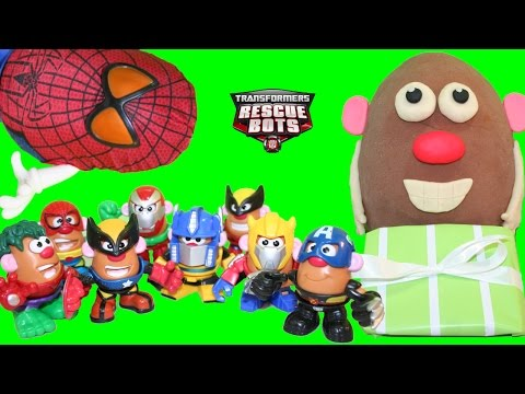 Giant Play Doh Surprise Egg Mr. Potato Head & New Mashable Bumblebee Mini Potato Heads Avengers