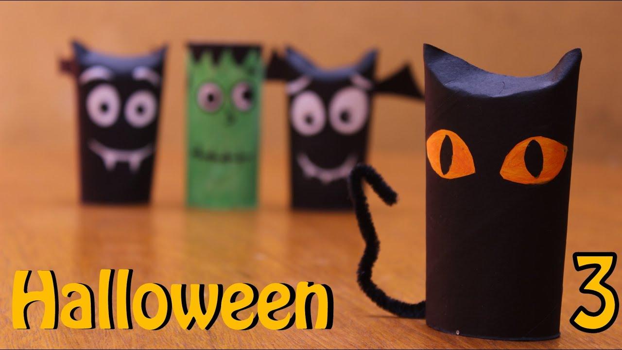 Gatinho de rolinho de papel higi u00eanico Halloween Dia das Bruxas com sucata 3 YouTube -> Decoração De Halloween Com Materiais Reciclados