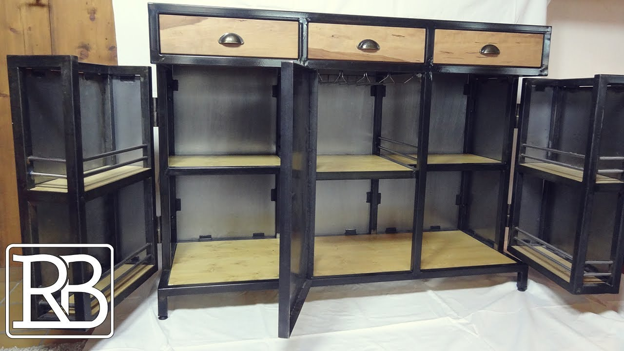 fabriquer un meuble metal et bois minibar buffet 2 2 diy youtube. Black Bedroom Furniture Sets. Home Design Ideas