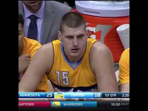 Jokic gets angry - Denver Nuggets vs. Minnesota Timberwolves - NBA - 28/12/2016
