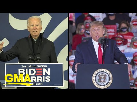 Trump, Biden hit trail hard as record early voter turnout continues | GMA