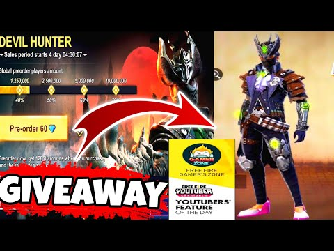 """NEW """" DEVIL HUNTER """" PRE ORDER ONLY  60 DIAMONDS - ALL DETAILS  OF NEW EVENT - Garena Free Fire"""