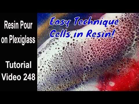 Resin Pour on plexiglass/ Full Tutorial/ CELLS my easy technique/ Multiple Layers
