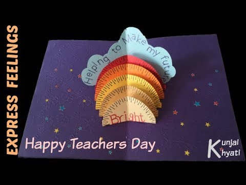 How To Make Thank You Card For Your Teacher Stand Up Pop Up Card Diy
