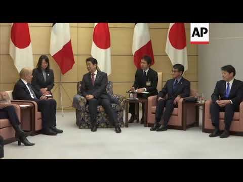 Japan PM Abe welcomes France FM Le Drian in Tokyo