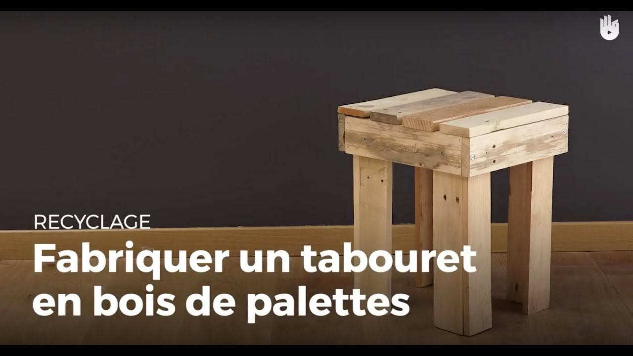 fabriquer un tabouret 4 pieds en bois de palette recycler youtube. Black Bedroom Furniture Sets. Home Design Ideas