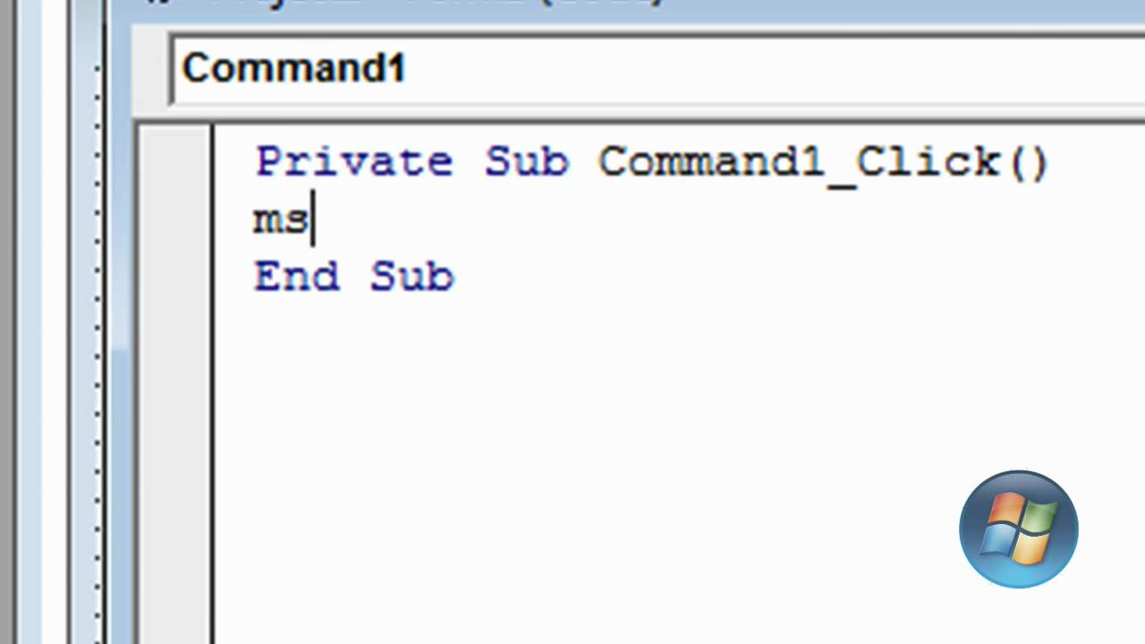 Visual Basic 6 Basic Command Button And Message Box
