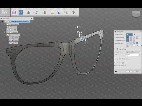 Designing sunglasses in Autodesk Fusion 360 - Basic setup - 1/3
