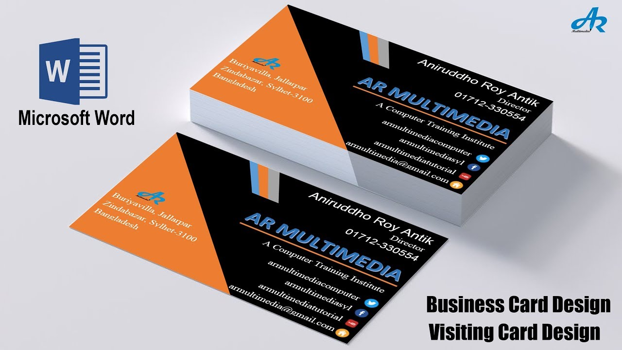 MS Word Tutorial How To Create Professional Business Card Design In - Professional business card design templates