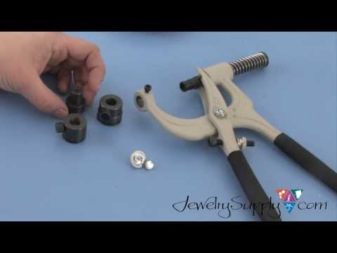 Using the Swarovski Crystal Applicator tool to attach Crystal Jeans Buttons
