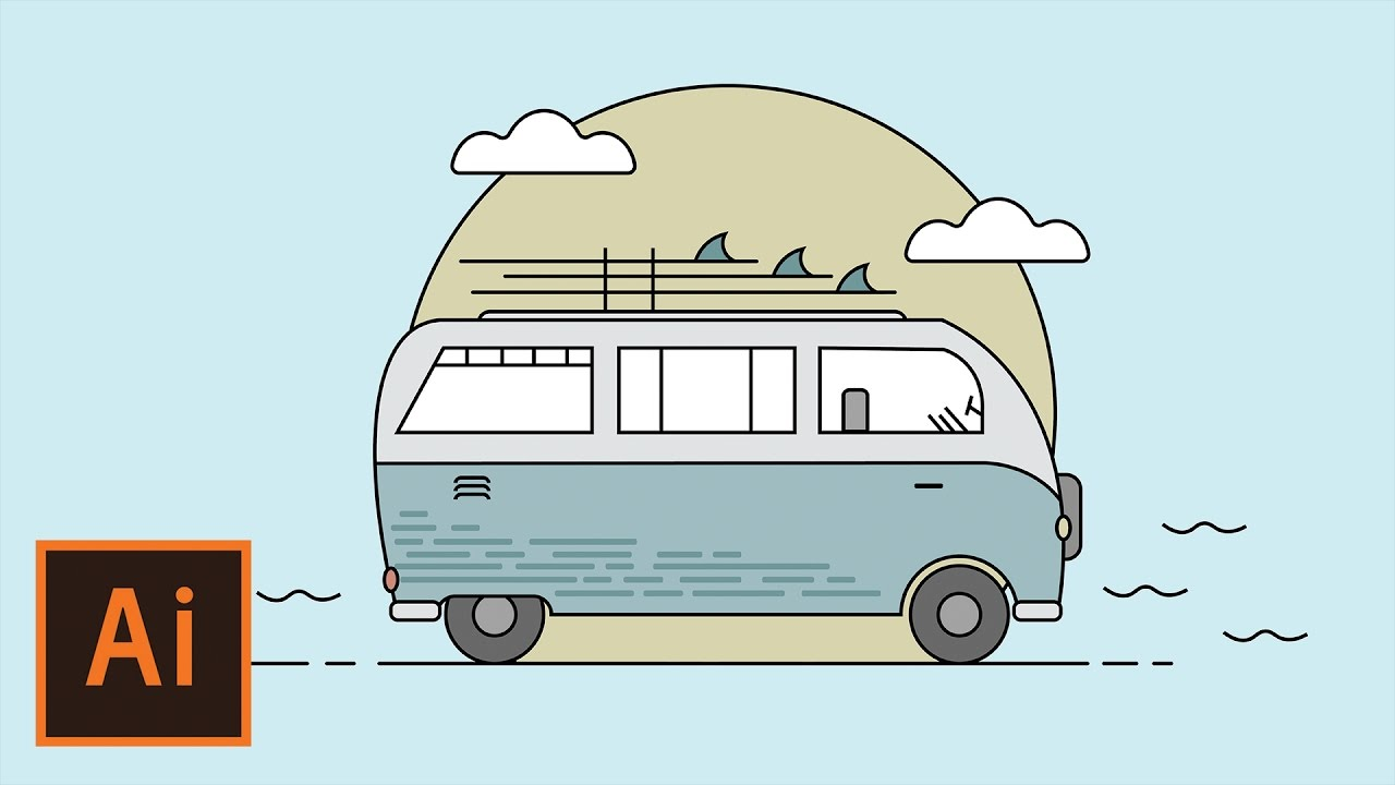 Favori Illustrator Tutorial - Hippie Surf Van Flat Design (Illustrator  TW66