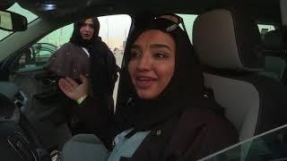 Instructors train Saudi women at car exhibition