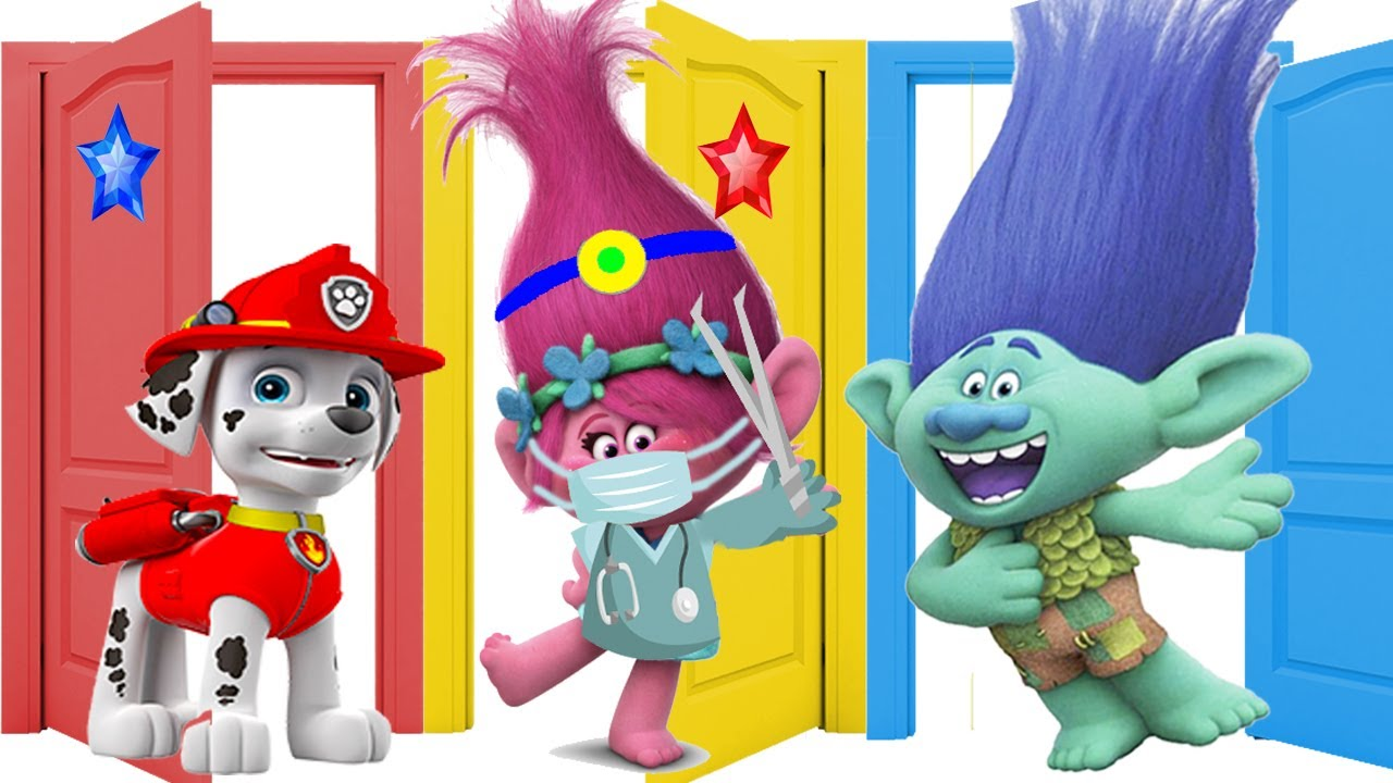 Dreamworks Trolls World Tour Learning DIY Play-Doh Colors with Paw Patrol Skye