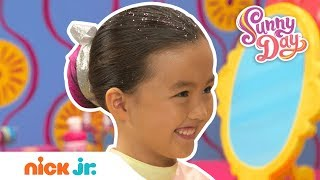 How to Create a Colorful Dance Bun Hairstyle 🌈 Style Files Hair Tutorial   Sunny Day   Nick Jr.