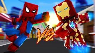 Minecraft: herÓis pvp - homem aranha vs homem de ferro!