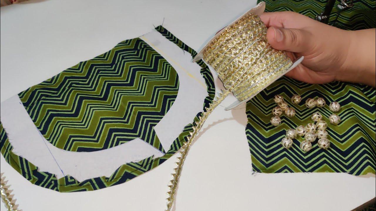 Gota Patti और Beads से बनाए Kurti Neck का ये खूबसूरत डिज़ाइन  Round Neck Design