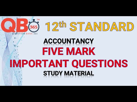 TN   12th Standard Accountancy Five Mark Important Questions With Answer Key - Full Portion