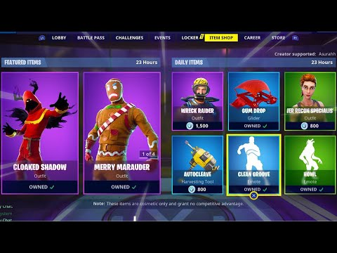 CLEAN GROOVE | CLOAKED SHADOW | MERRY MARAUDER | GINGER GUNNER; Item Shop in FORTNITE #December29th