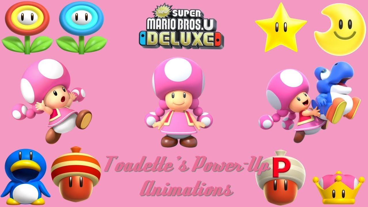 New Super Mario Bros  U Deluxe - Toadette's Power Up Animations