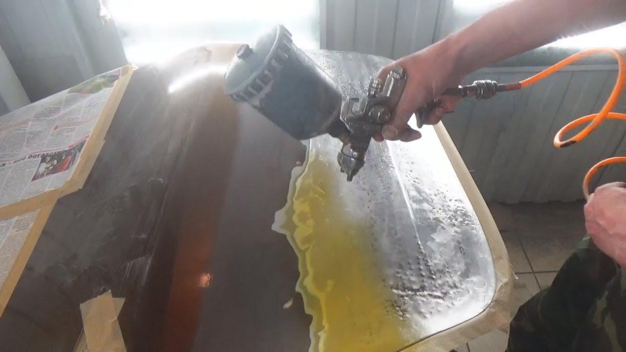 Подготовка авто к шпатлёвке и первичное грунтование кислотным и акриловым грунтами.