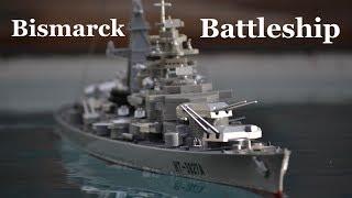 German Bismarck Military Battleship 1/360 RC unboxing and test
