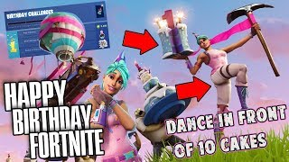 Fortnite BIRTHDAY CAKE LOCATIONS/CHALLENGE!: Dance in Front of Cakes (Battle Royale) Birthday Gift?