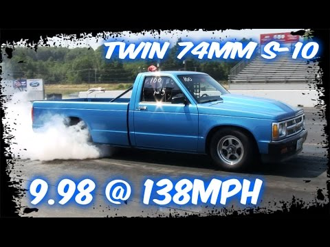 Twin Turbo 74mm S10 Street Truck at the track