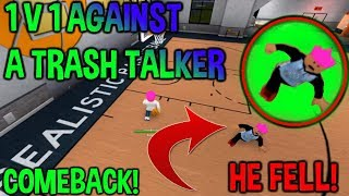 MADE HIM FALL!!! 1V1ING A TRASH TALKER! INSANE COMEBACK AND SHOTS! (RB World 2) (Roblox)