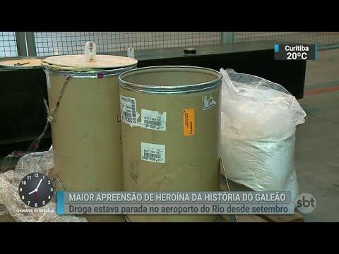Receita Federal apreende 100 Kg de heroína no Aeroporto do Galeão   SBT Brasil (24/04/18)