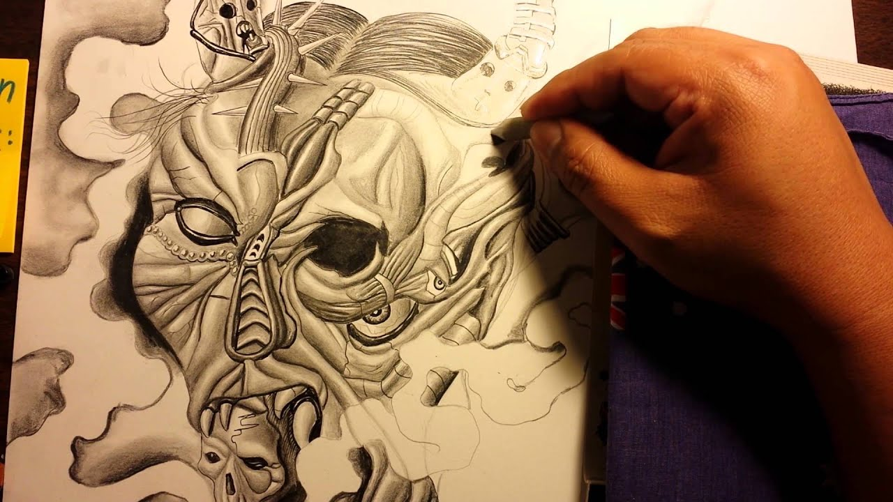 drawing a japanese oni samurai demon mask tattoo youtube