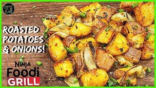 NINJA FOODI GRILL ROASTED ROSEMARY POTATOES AND ONIONS!  Ninja Foodi Grill Recipes!