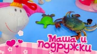 Видео для детей: Маша и подружки! Театр:  Подводный мир -  краб, черепаха(Новая серия развивающей передачи для девочек