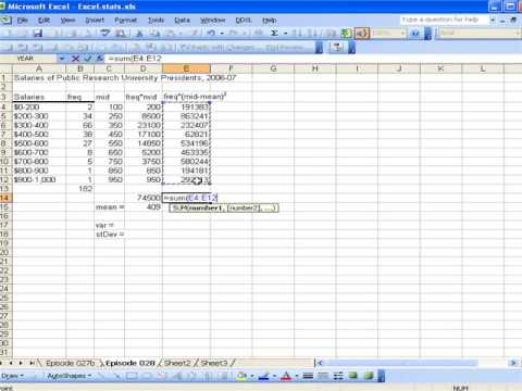 Calculating variance and standard deviation using excel youtube calculating variance and standard deviation using excel ccuart Images