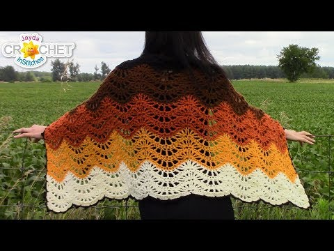 Autumn Moon Wrap or Blanket Scarf - Beautiful Feather & Fan Stitch!