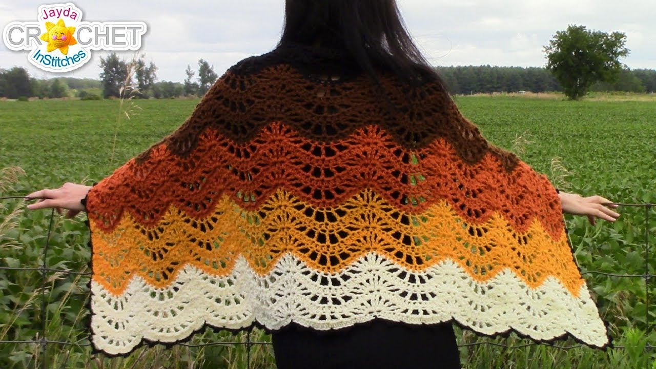 Autumn Moon Wrap or Blanket Scarf - Beautiful Feather & Fan Stitch ...
