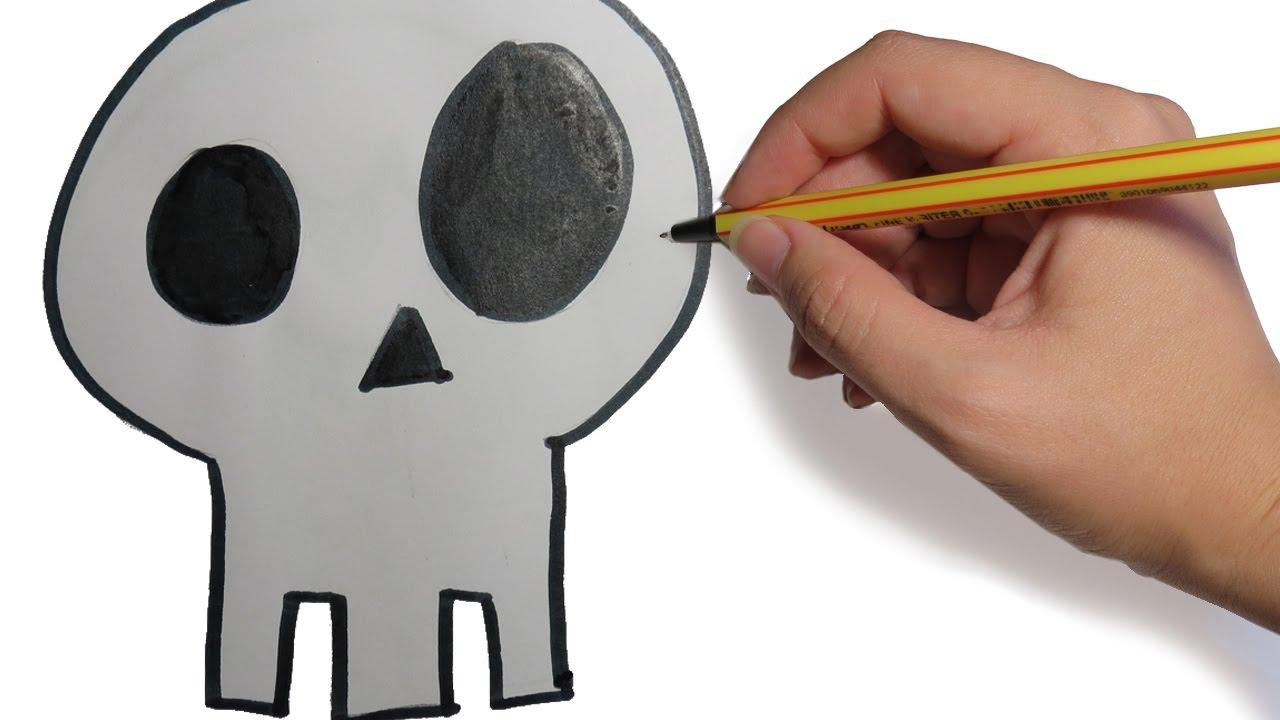 Como Dibujar Una Calavera Facil Para Halloween Paso A Paso Youtube