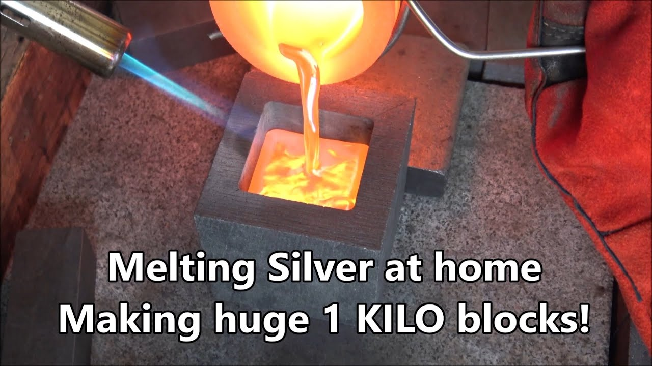 PURE SILVER Melting and Pouring KILO cubes (and more) - Backyard Bullion Silver Pouring