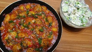 Домашний ужин /Овощи с фрикадельками в томатном соусе /Салат с тунцом