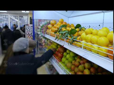 fresh organic fruits and vegetables are on the shelves of the supermarket. healthy delicious healthy