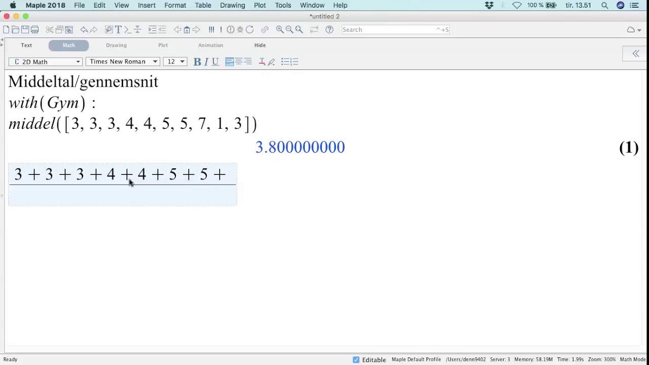 middeltal matematik