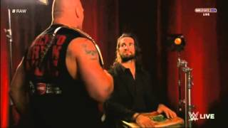 Seth Rollins takes Brock Lesnar's chair (RAW 1.26.15)