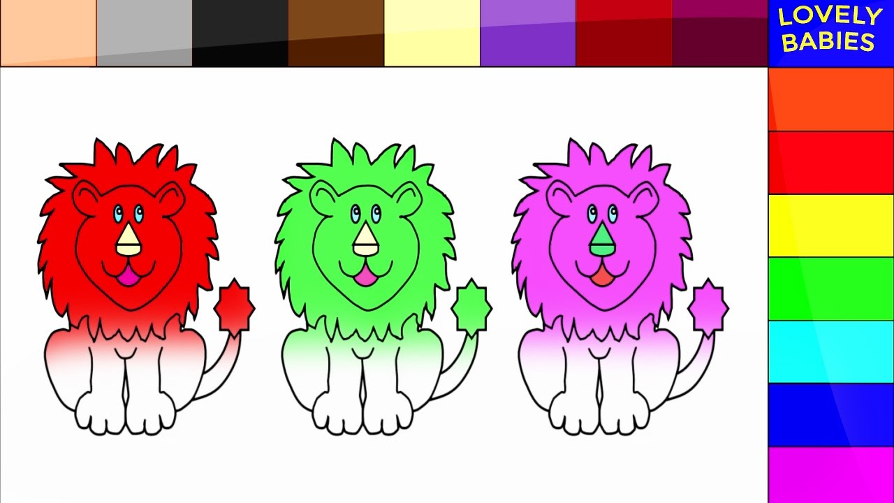 Coloring Pages For Animals Lion The Jungle King Colors Kids And Children To Learn