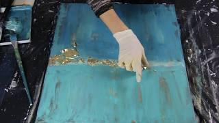 Abstraktes Acrylbild/ Blue Ocean/Gold Leaf / Acrylics /Demonstration