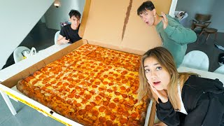 First To Finish WORLD'S LARGEST PIZZA Wins Crazy Prize!