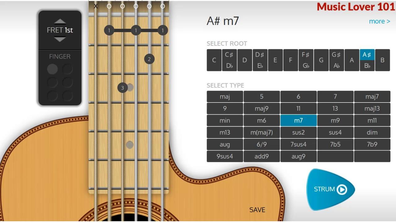 Am7 Or B Flat Minor 7 Chord Guitar Youtube